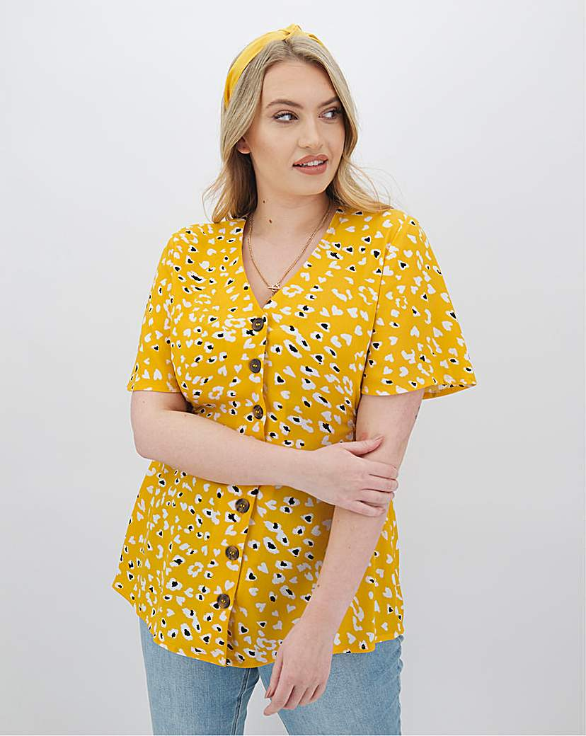 Capsule Print Button Blouse With Shirred Sides