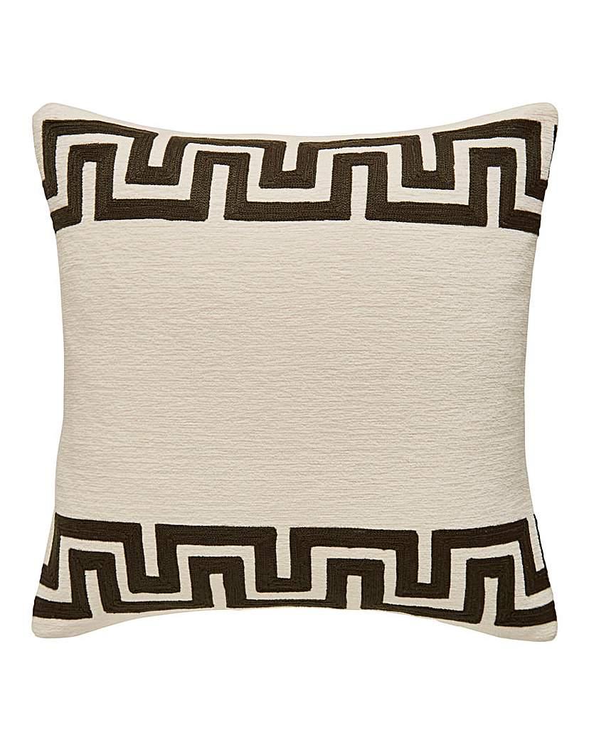 Greek Key Border Chenille Cushion
