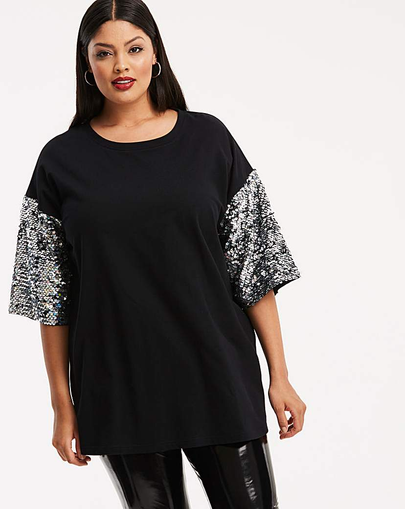 Elf Black Iridescent Sequin Sleeve Tunic