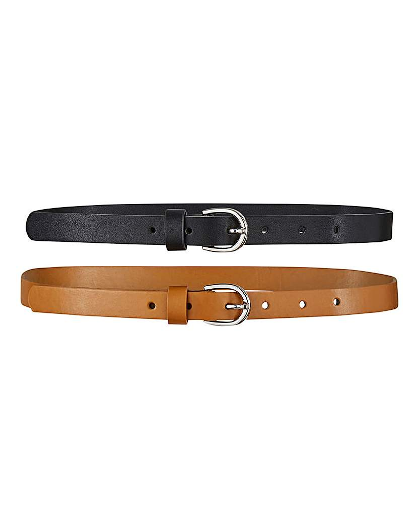 Capsule Pack of 2 Black/Tan Jeans Belts
