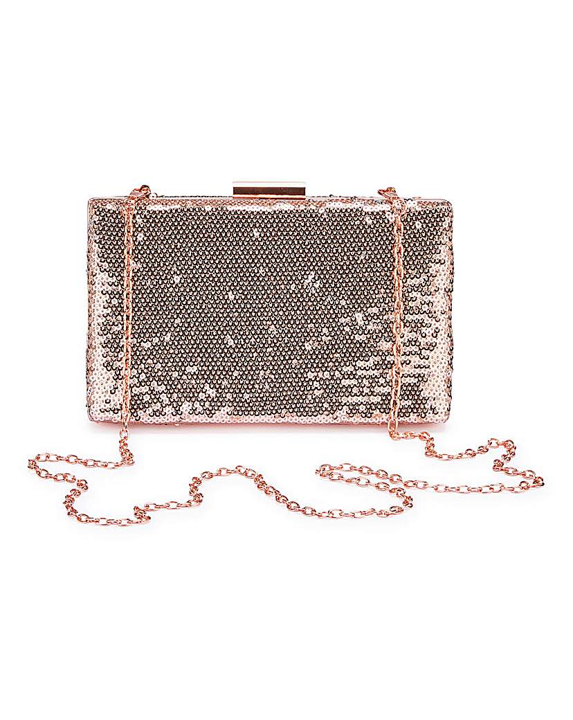 23029490883 Rose Gold Sequin Clutch Bag
