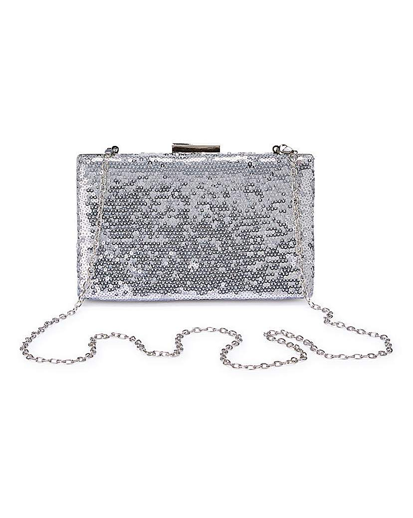 23029490563 Silver Sequin Clutch Bag