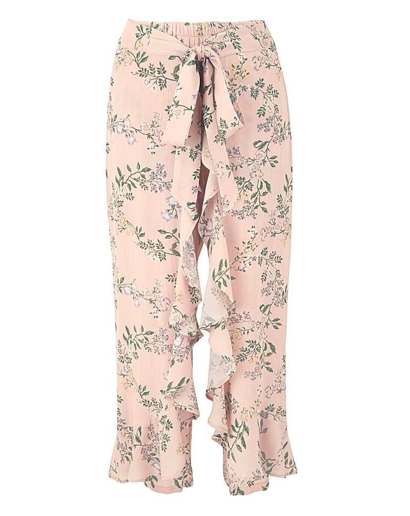 Floral Crinkle Wrap Crop Trousers