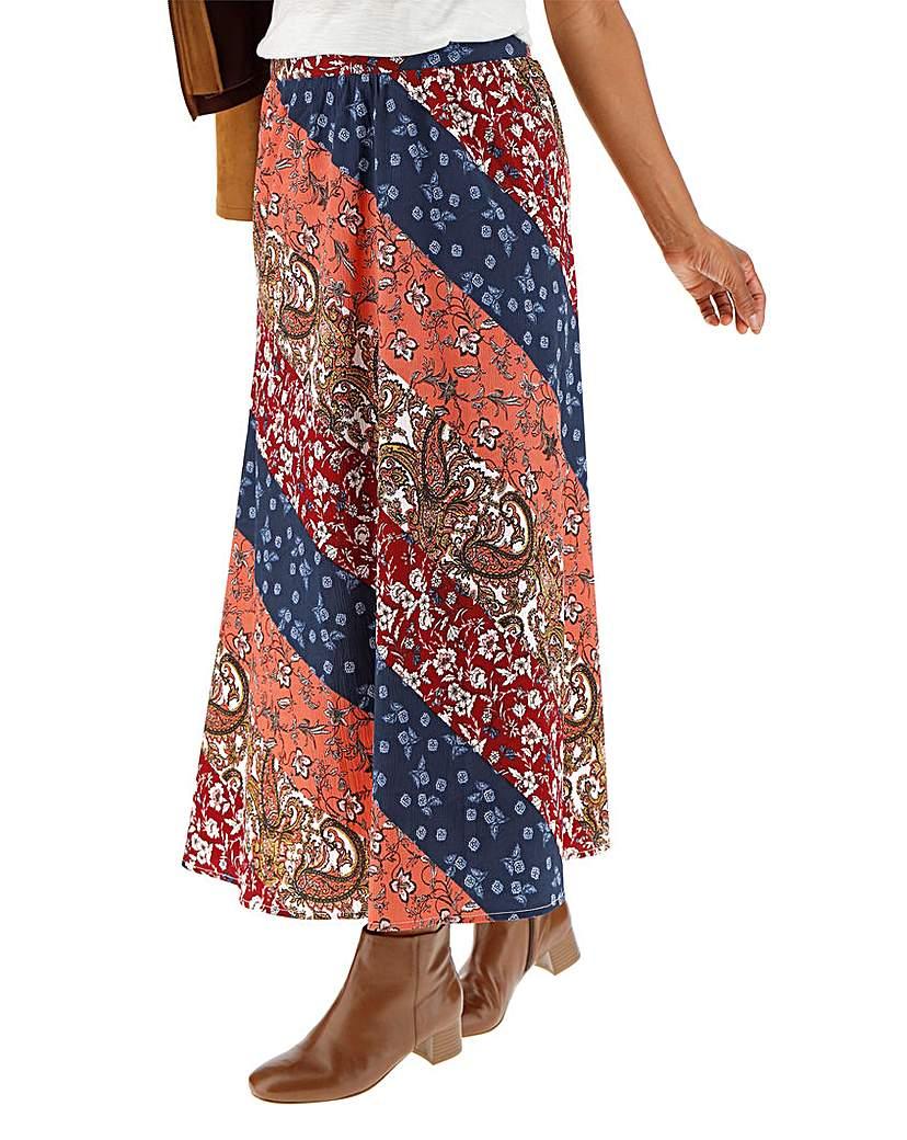 60s Skirts | 70s Hippie Skirts, Jumper Dresses Floral Print Crepe Maxi Skirt £20.00 AT vintagedancer.com