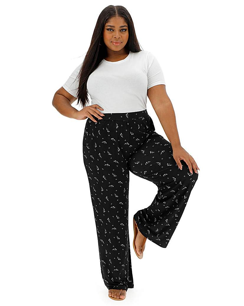 Mono Jersey Wide Trousers Long