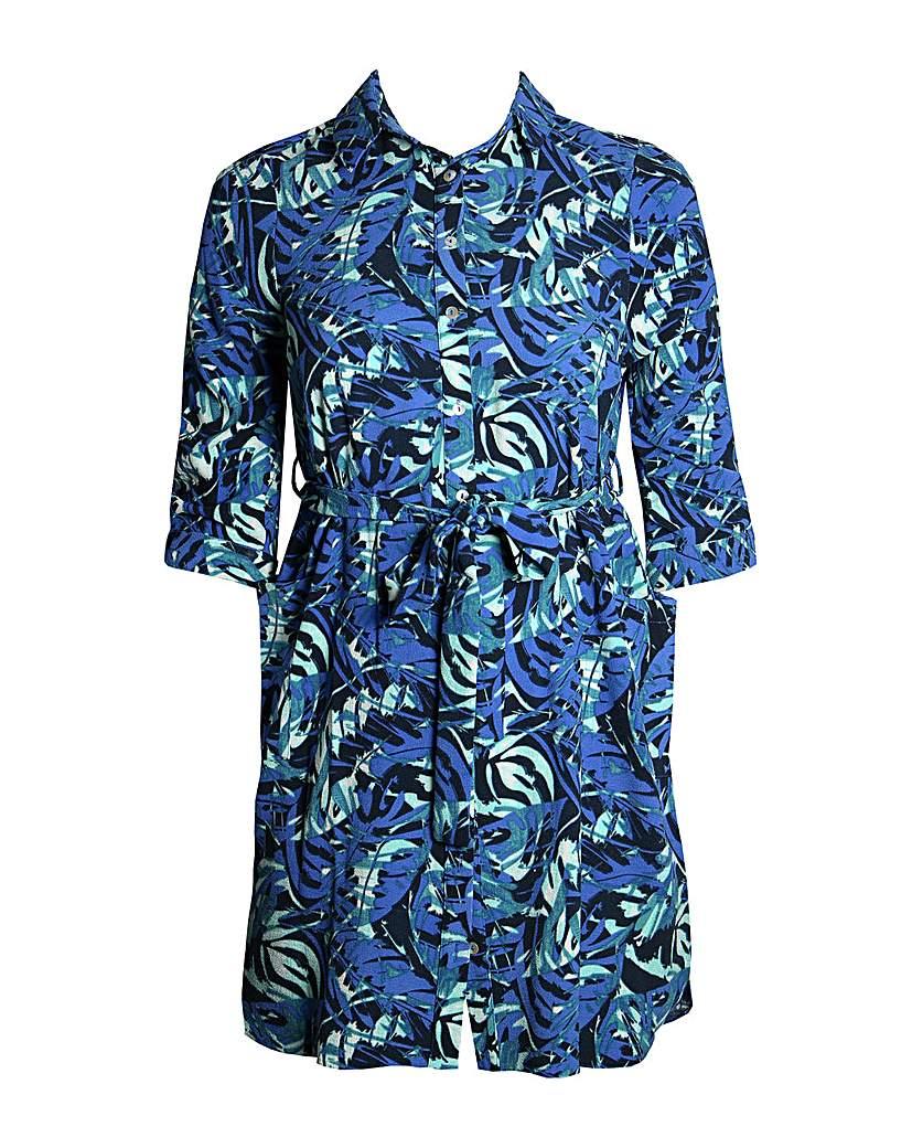 Lovedrobe GB Blue Leaf Print Shirt Dress