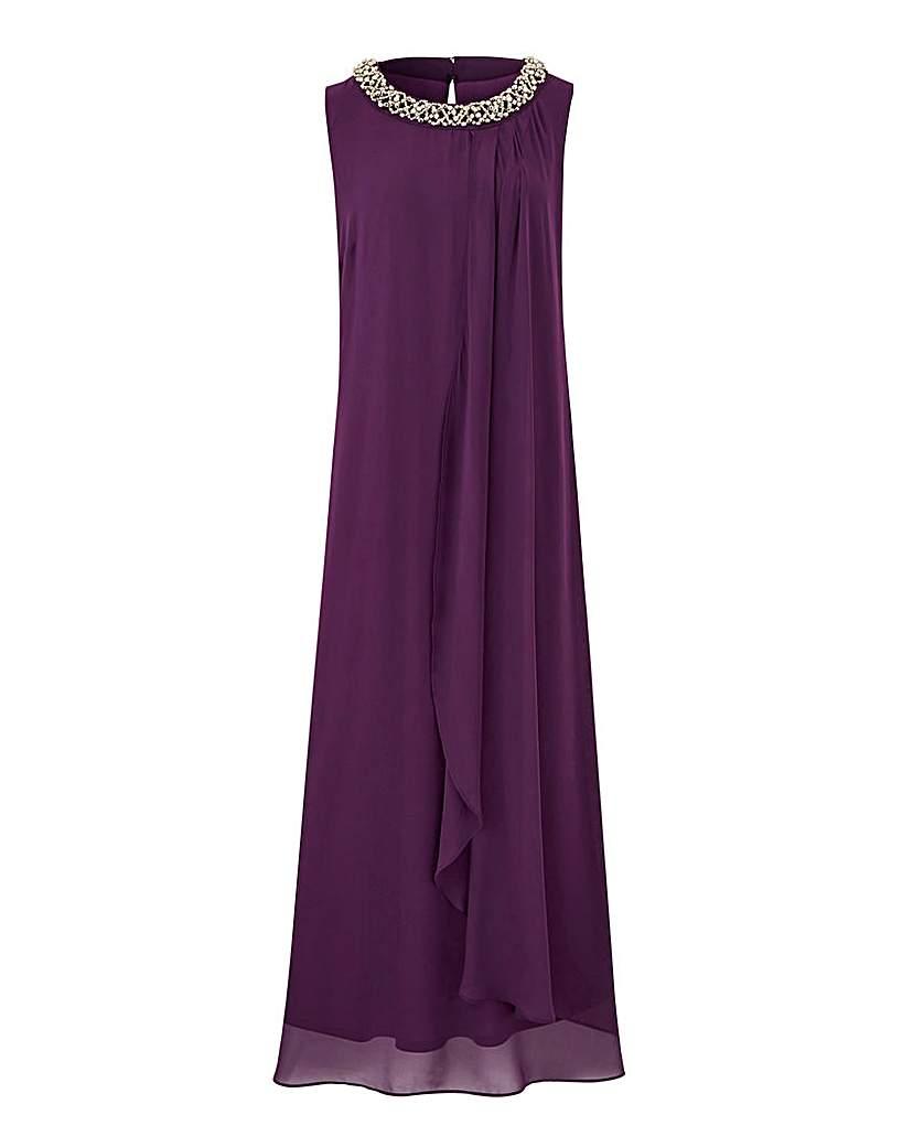 Joanna Hope Joanna Hope Beaded Neck Maxi Swing Dress