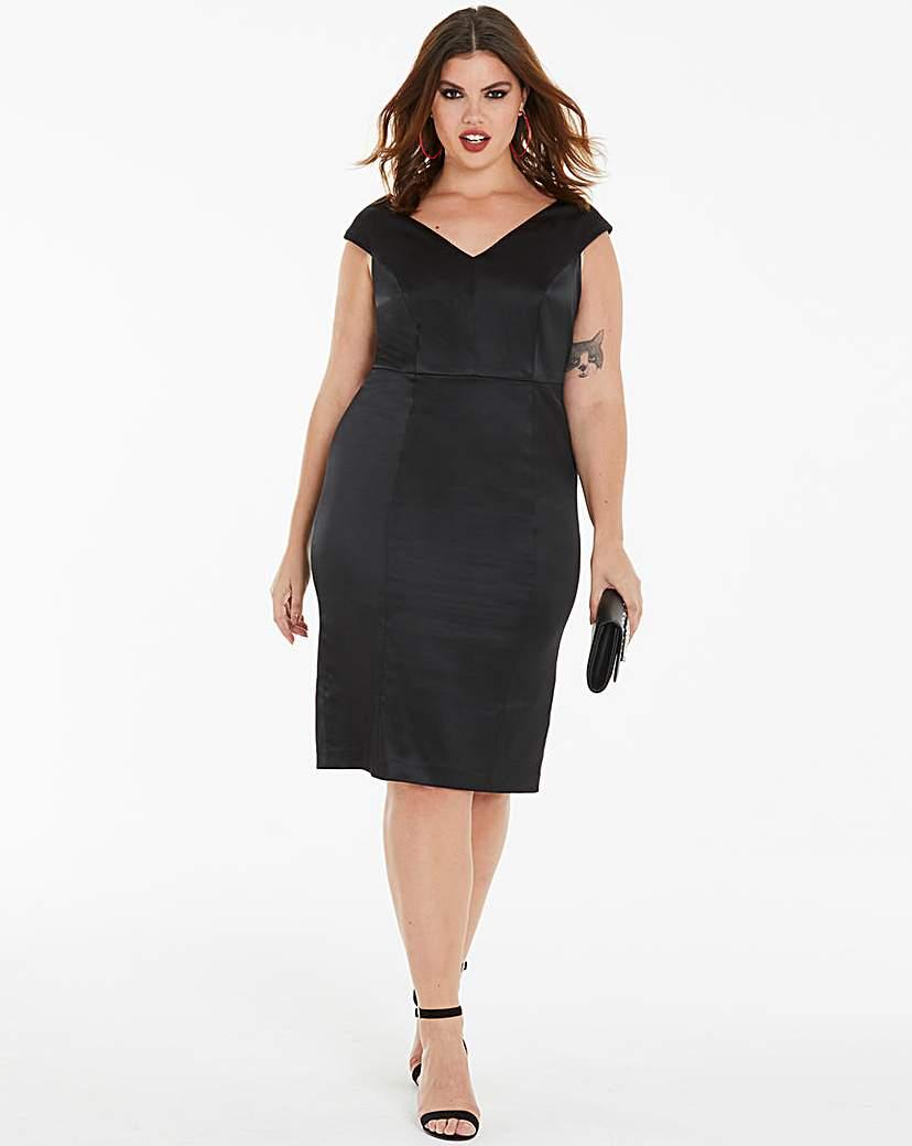 Joanna Hope Joanna Hope Sateen Black Bodycon Dress