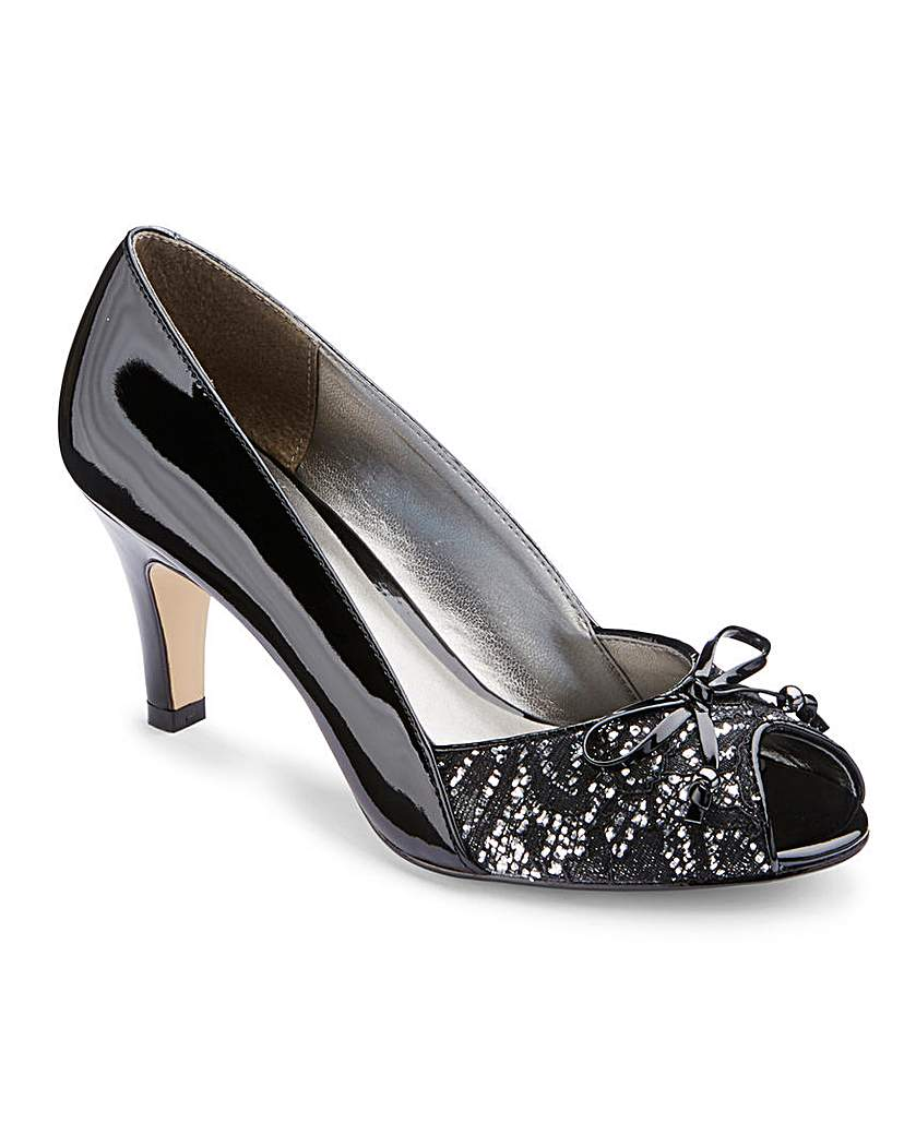 Retro Vintage Style Wide Shoes Lotus Peep Toe Shoes EEE Fit £35.50 AT vintagedancer.com