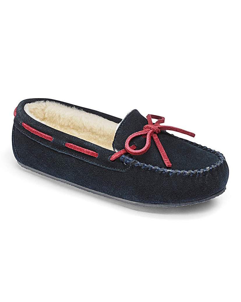 Heavenly Soles Suede Moccasin Slippers