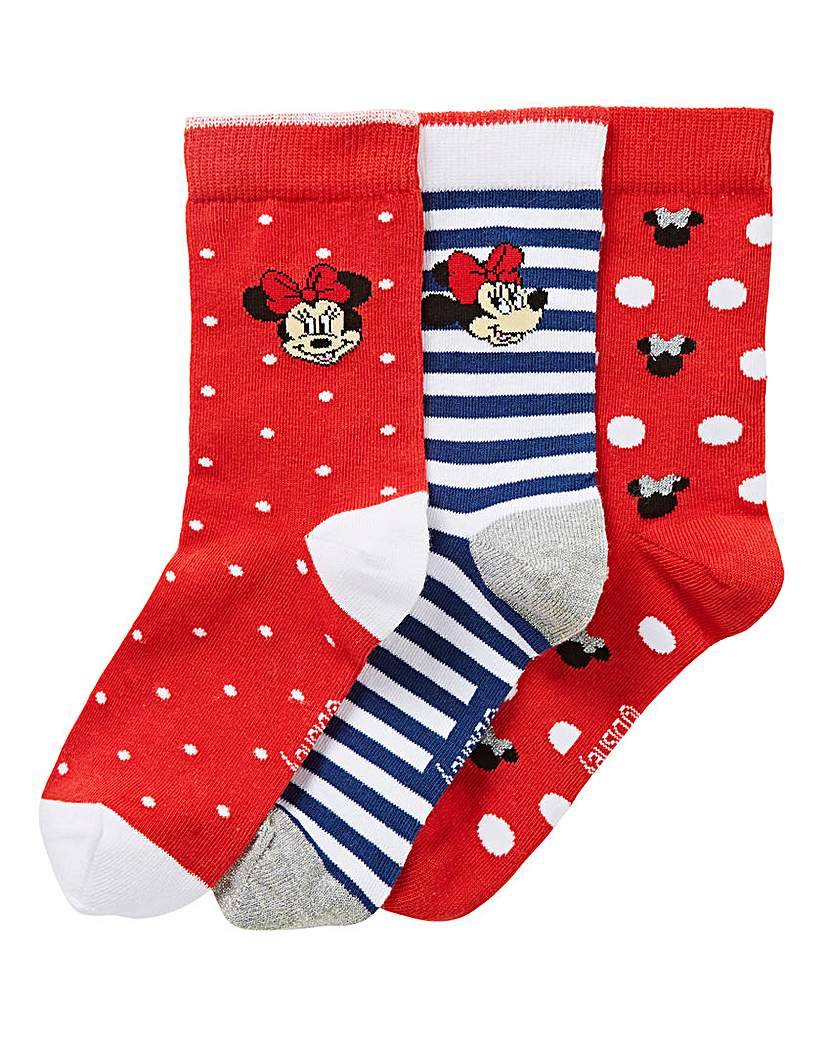 3 Pack Minnie Mouse Cotton Rich Socks