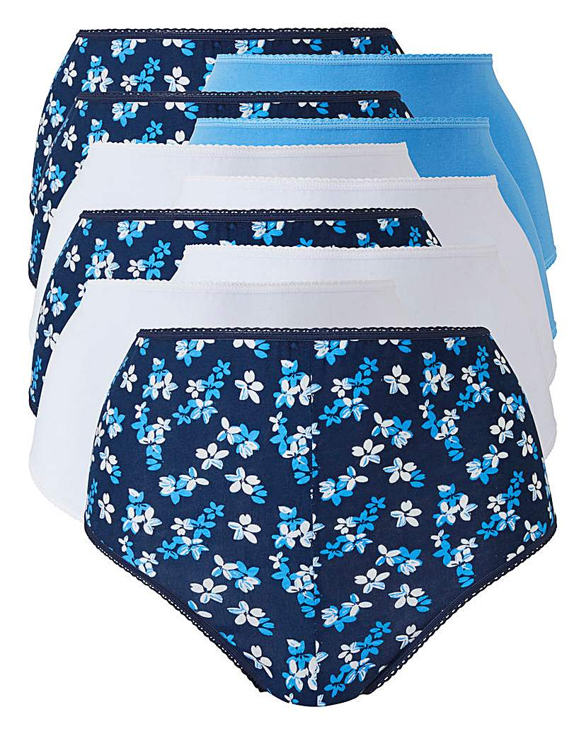 10Pack Blue Floral Full Fit Briefs
