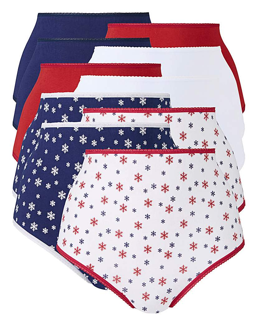 10Pack Christmas Print Full Fit Briefs