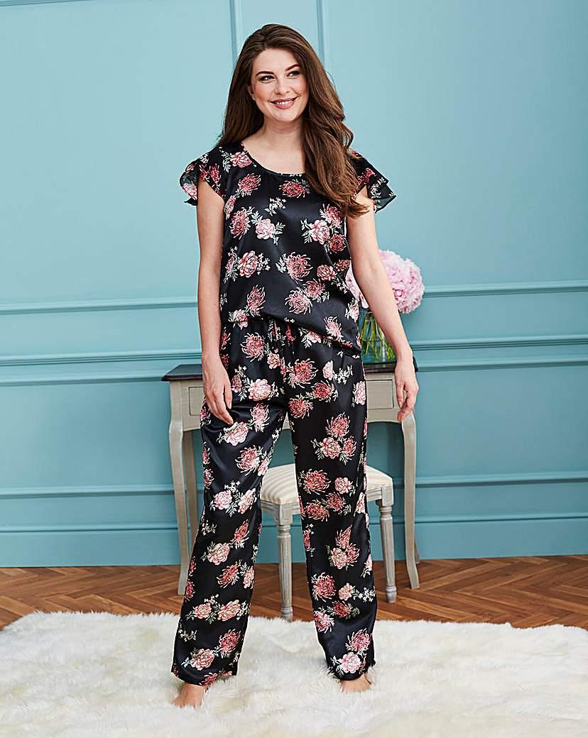 Frill Sleeve Satin Pyjama Set