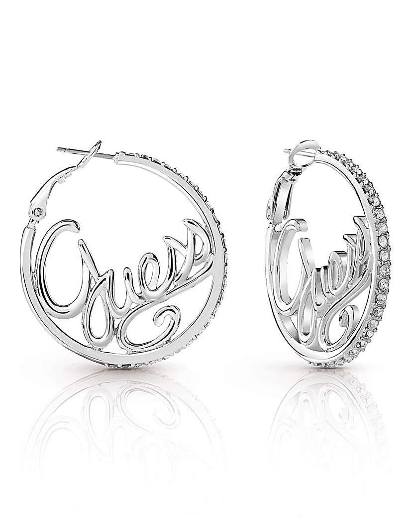 Guess Authentics Logo Hoop Earrings