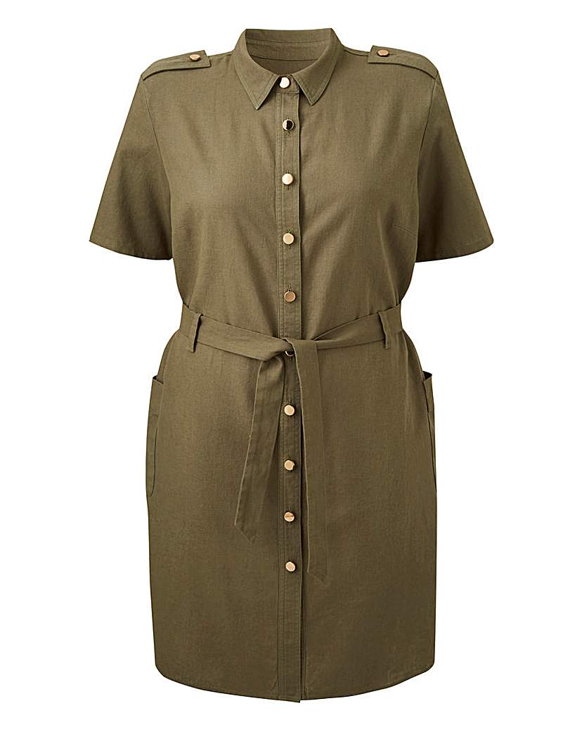 Khaki Linen Safari Shirt Dress