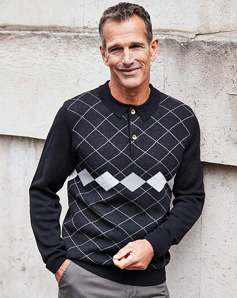 Men's Vintage Sweaters – 1920s to 1960s Retro Jumpers Premier Man Black Polo Jumper R £22.00 AT vintagedancer.com