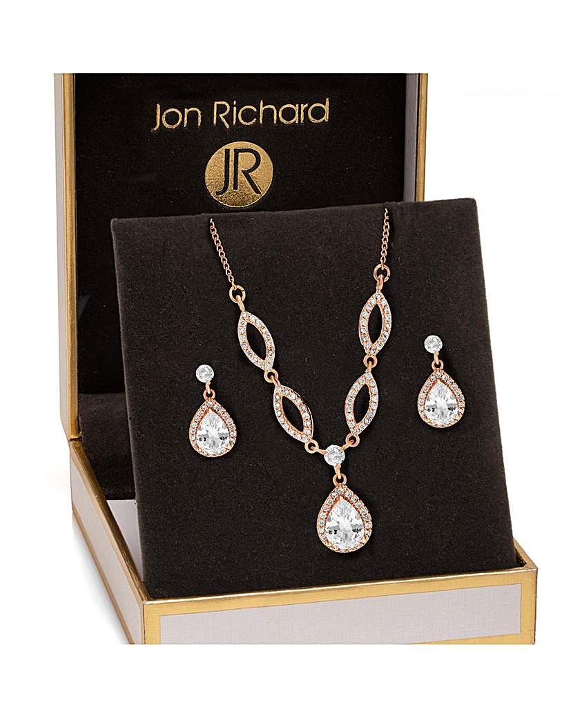 Jon Richard Jon Richard Rose Gold Pear Matching Set