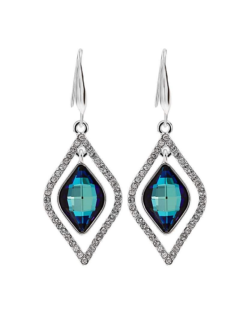 Jon Richard Jon Richard Silver Blue Frame Earrings