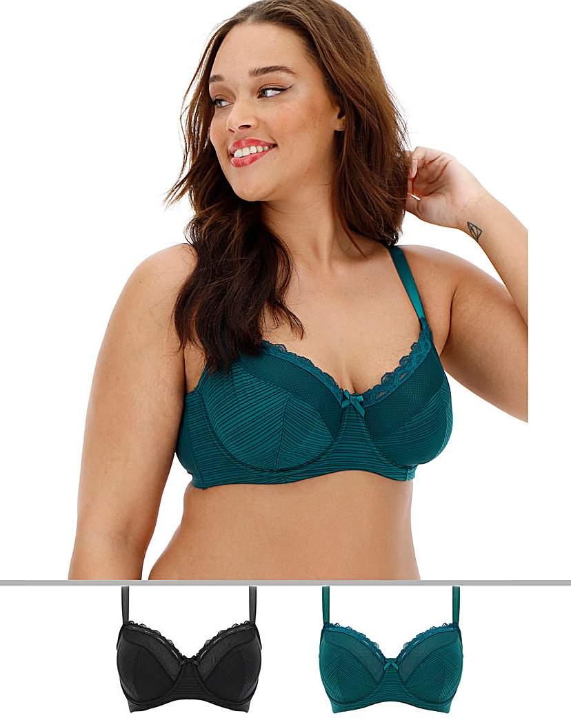 Dorina Curves 2Pack Paula Blk/Green Bras