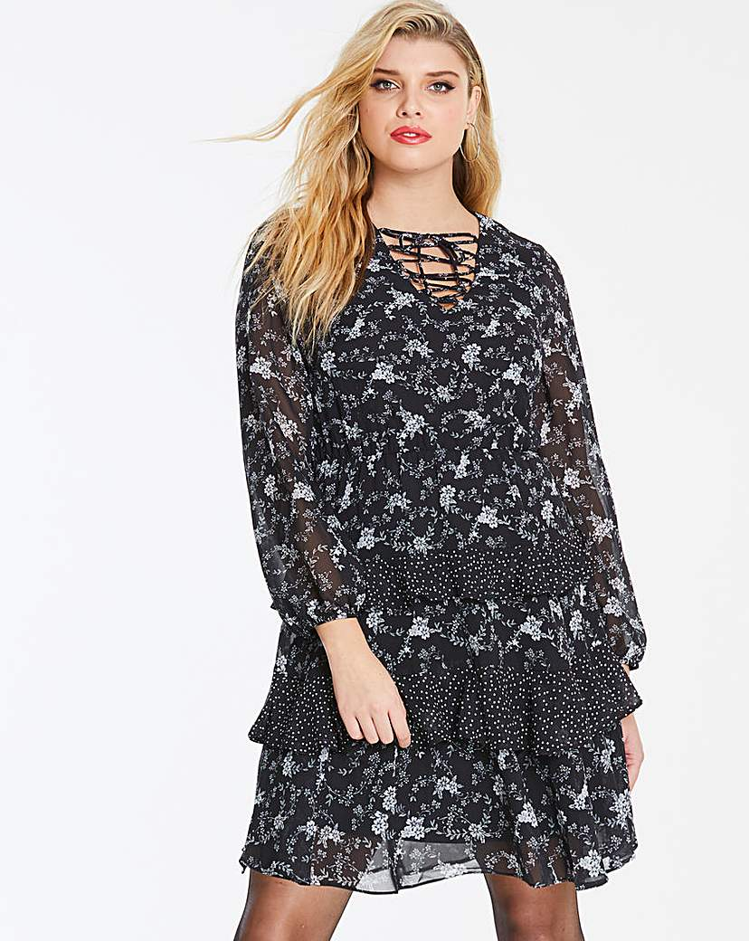Simply Be Black Floral Print Ruffle Tiered Dress