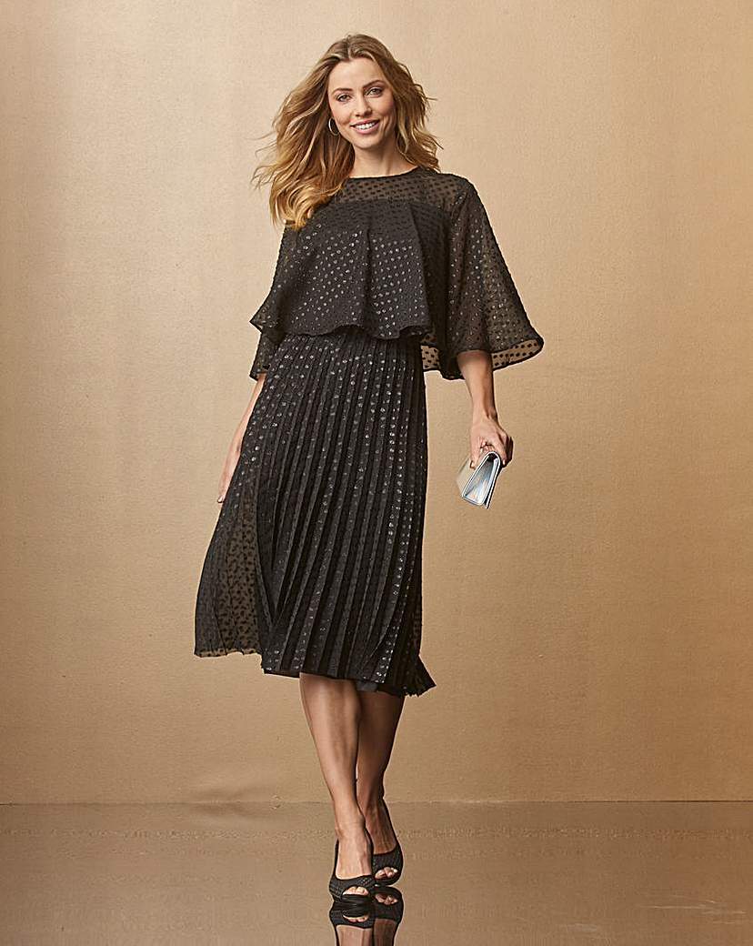 Black Spot Cape Midi Dress