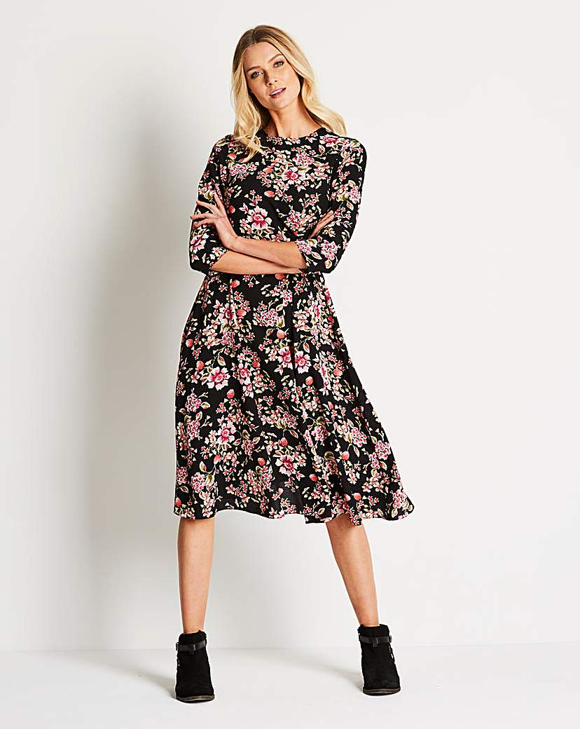 Oriental Print Ruched Front A line Dress