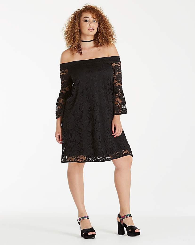 Simply Be Black Lace Bardot Dress