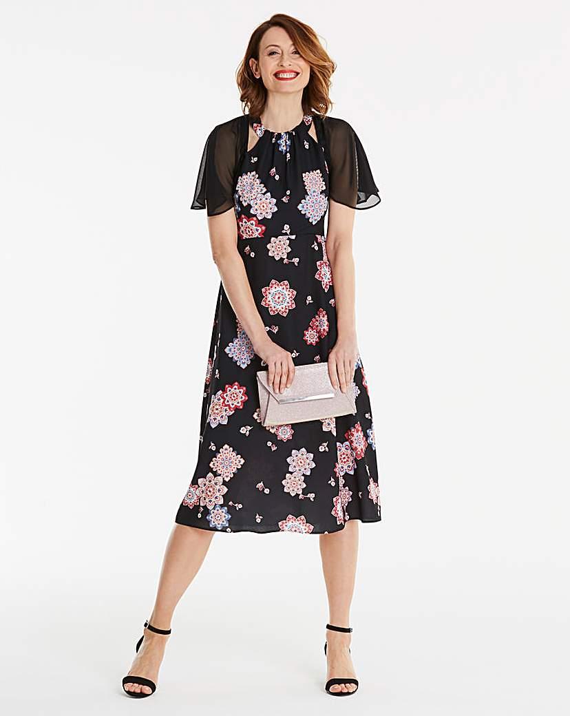 Cape Sleeve Midi Dress