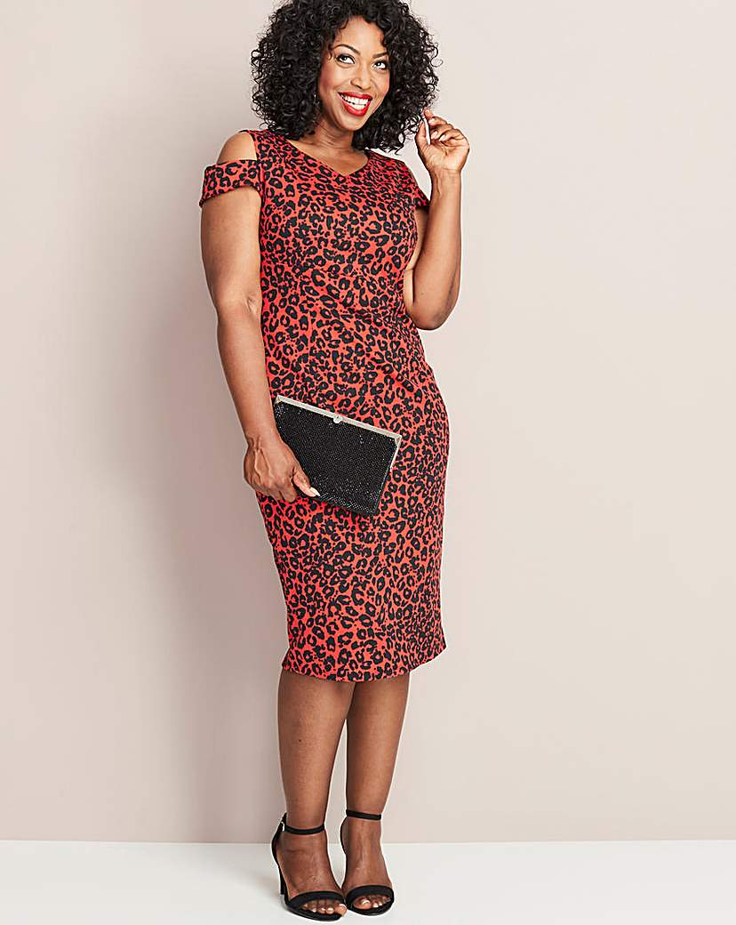 Red Leopard Print Magisculpt Dress