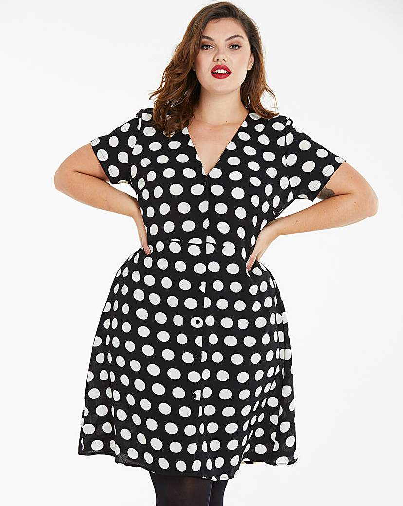 Simply Be Polka Dot Button Front Tea Dress