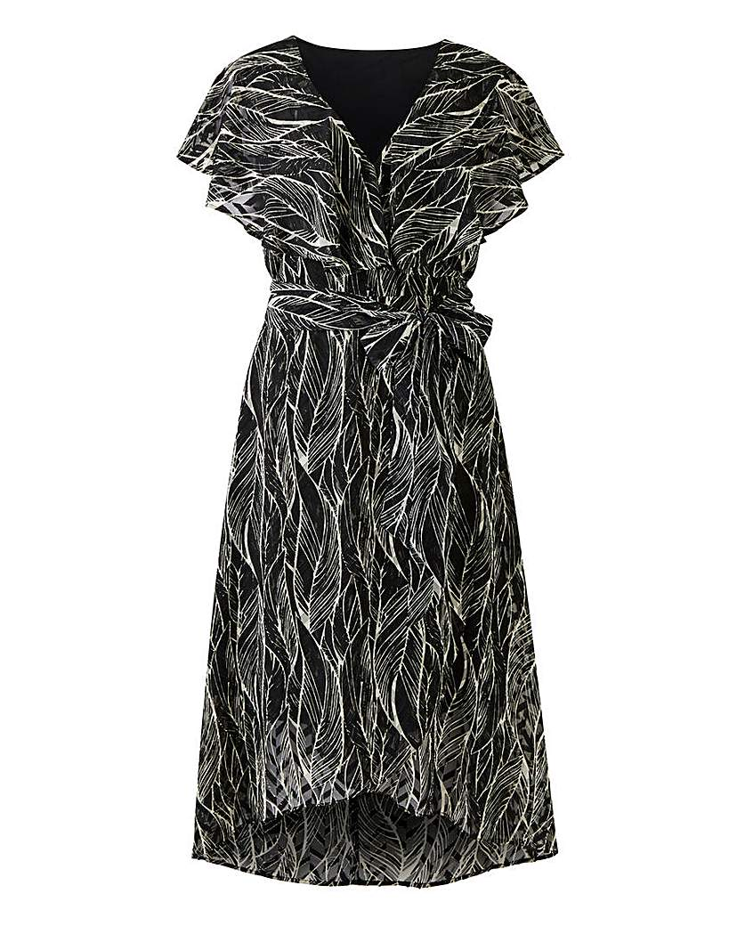 JD Williams Black/White Leaf Print Mock Wrap Dress