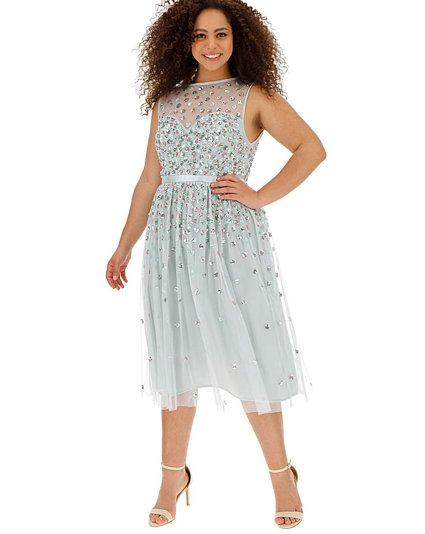 Maya Curve Mutli Sequin Sweetheart Dress
