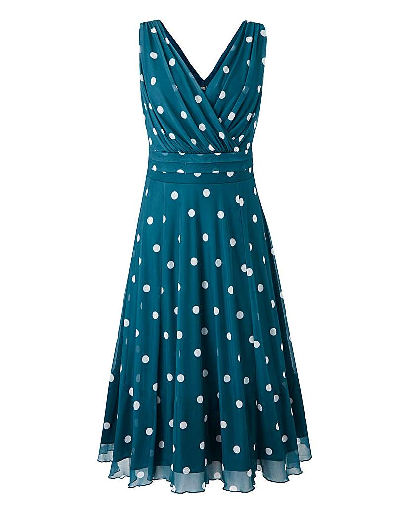 1940s Pinup Dresses for Sale Scarlett  Jo Polka Dot Mesh Dress £65.00 AT vintagedancer.com