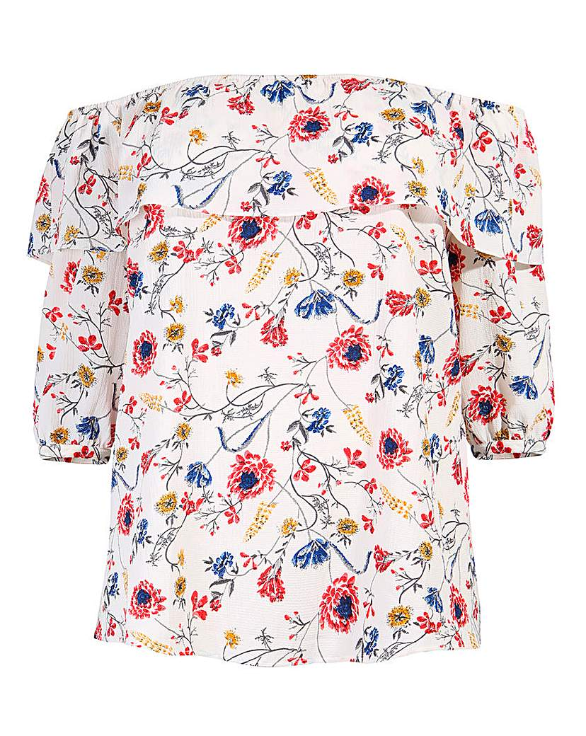 Shop 1960s Style Blouses, Shirts and Tops Lovedrobe Printed Bardot Ruffle Top £30.00 AT vintagedancer.com