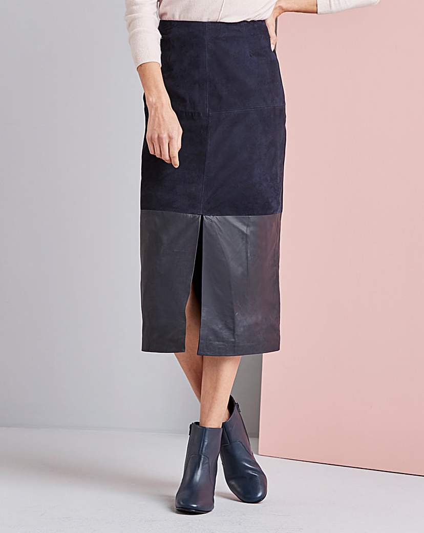 Concept Real Suede and Leather Skirt