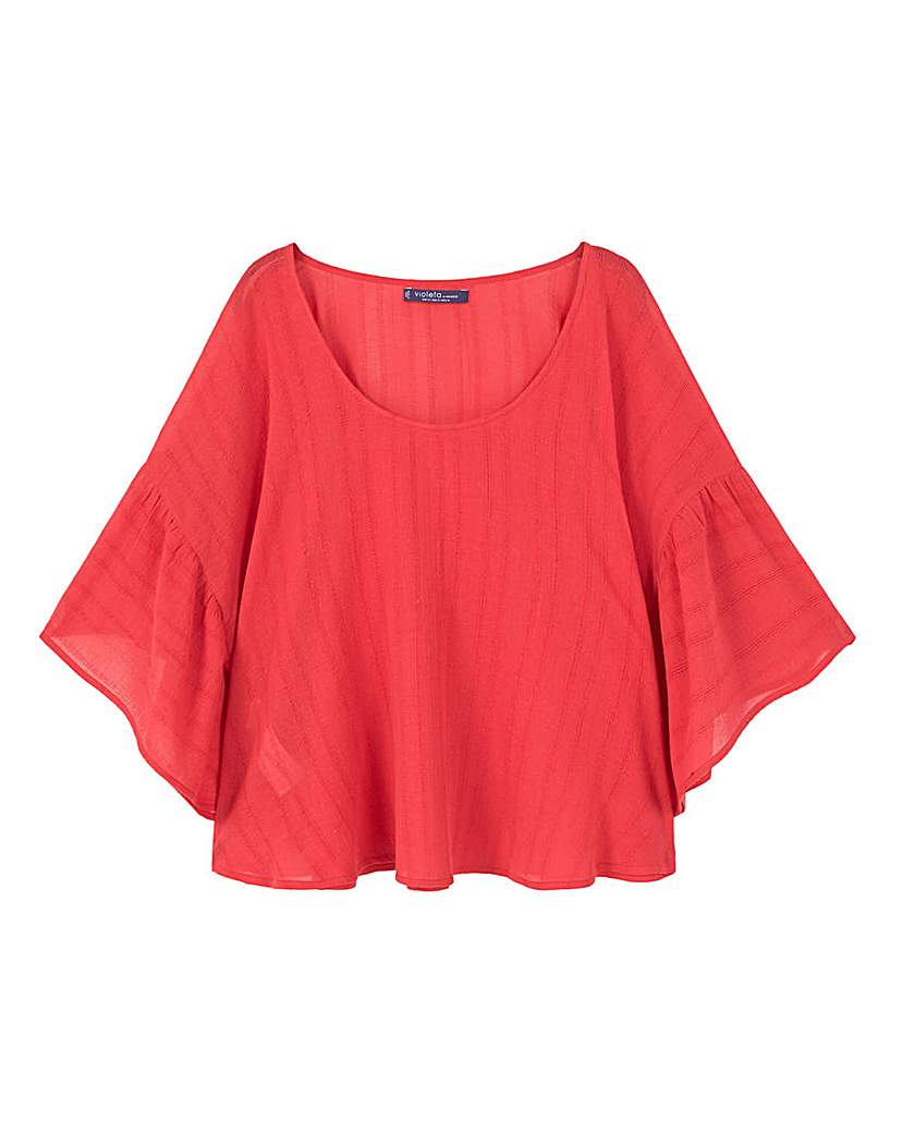 Violeta by Mango Fluted Sleeve Cape Top