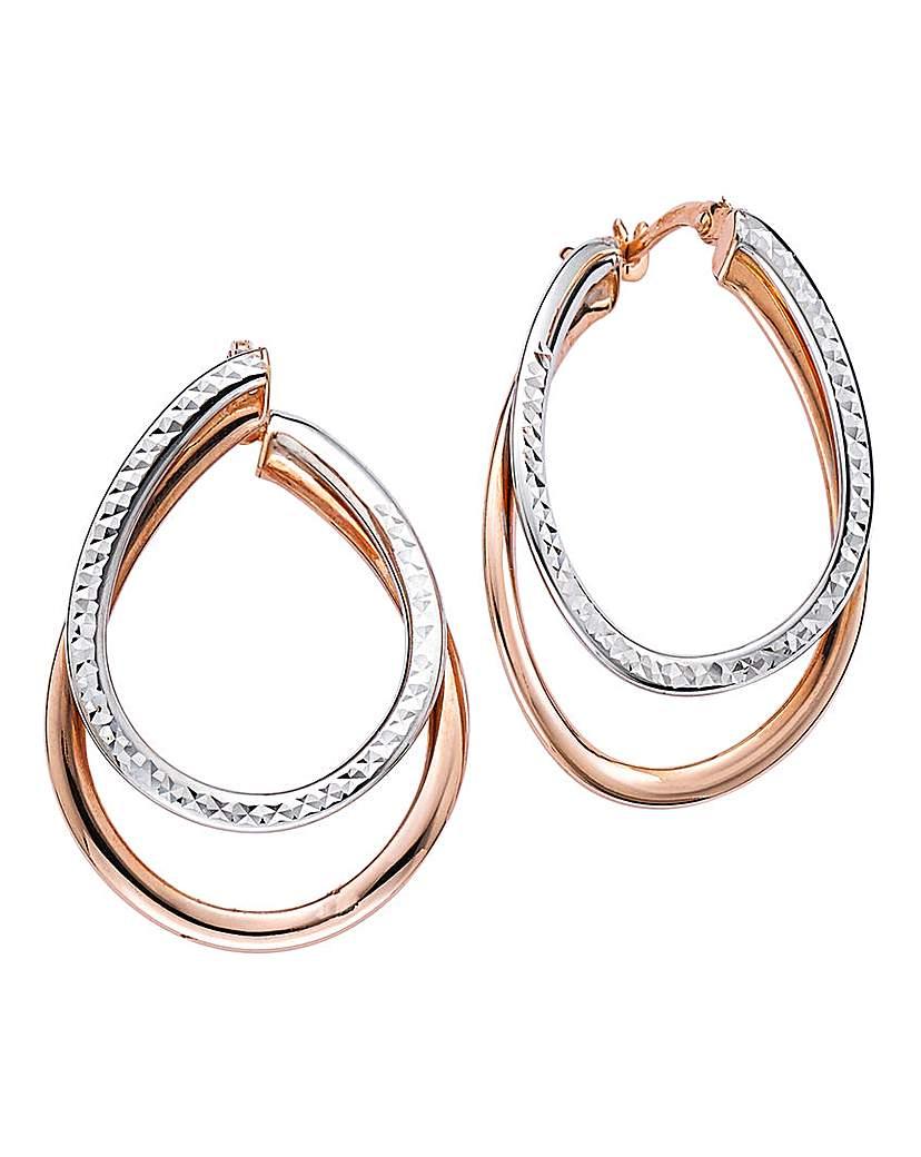 9 Carat Gold Diamond Hoop Earrings