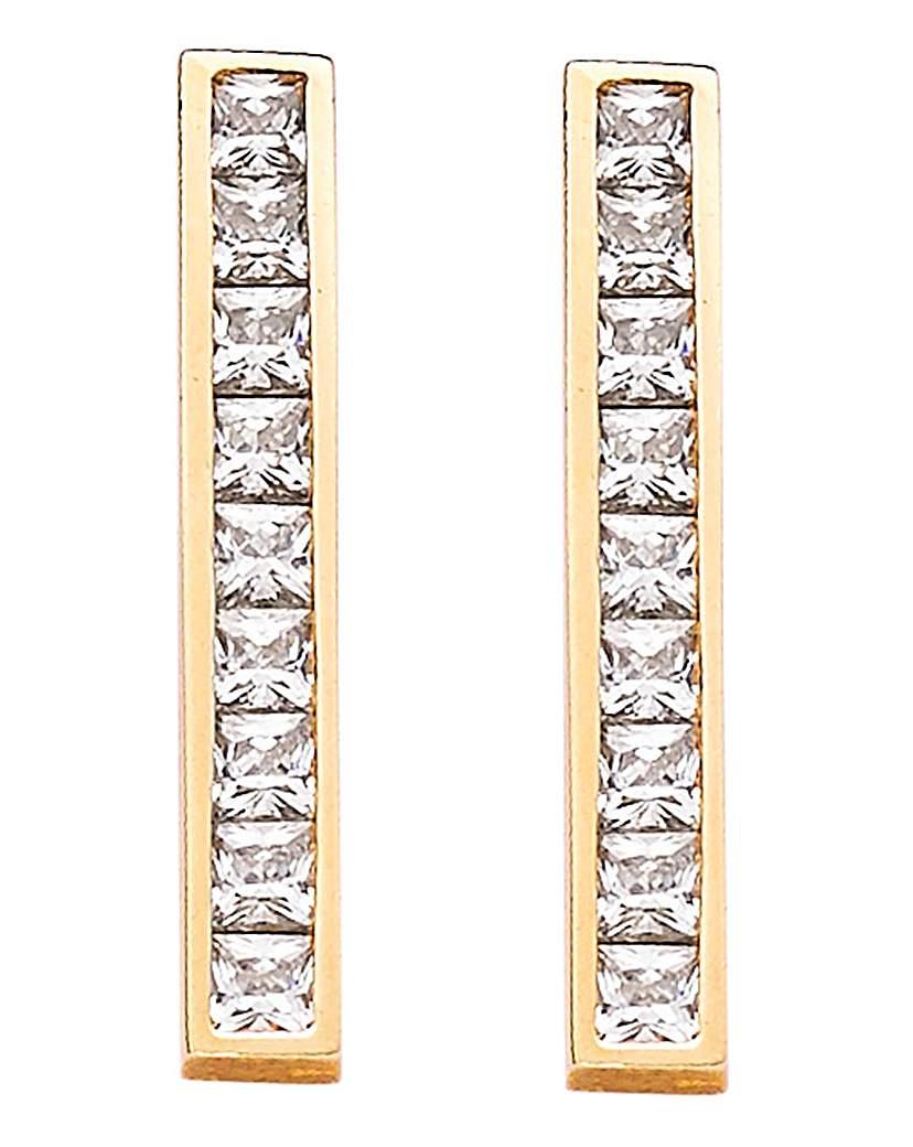 9 Carat Yellow Gold Single Bar Earrings