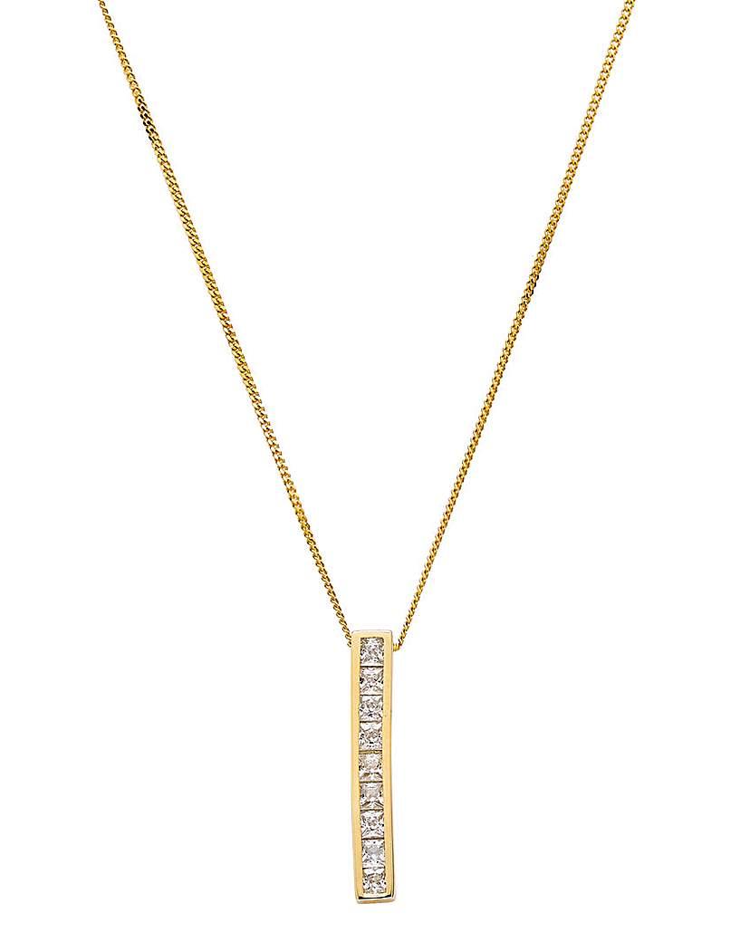 9 Carat Yellow Gold CZ Bar Necklace