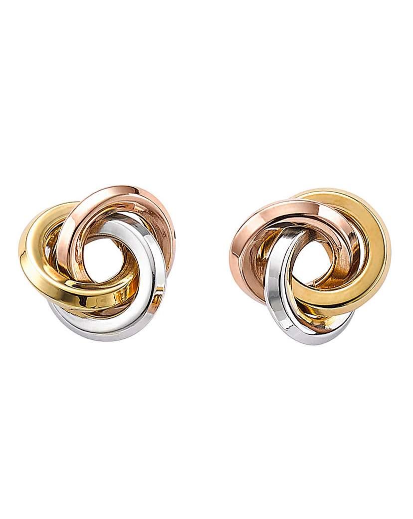 9 Carat Gold 3-Tone Knot Stud Earrings