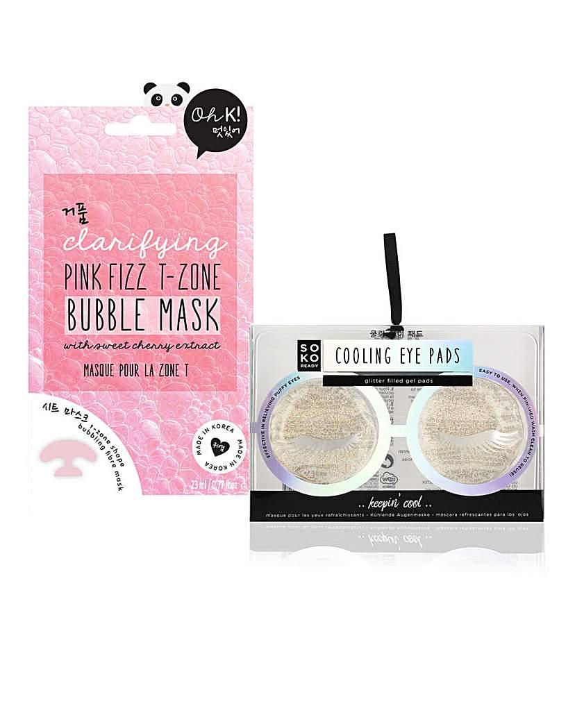 Cooling Eye Pads & Bubble Mask Set