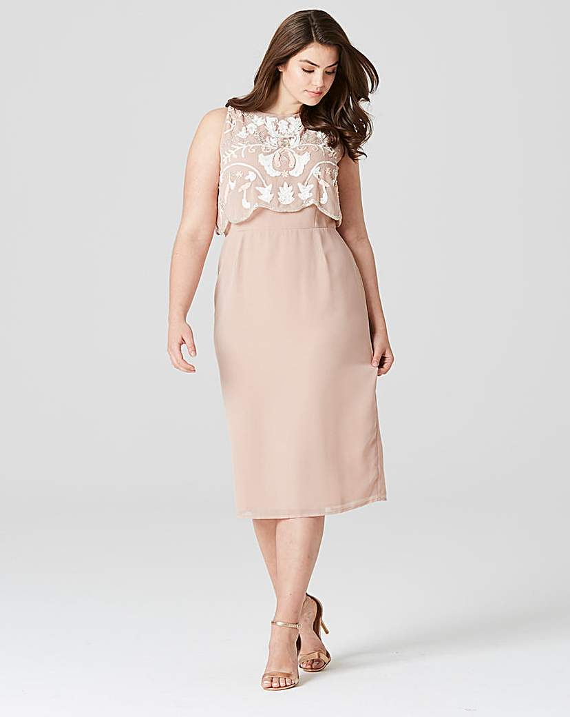 Where to Buy 1920s Dresses Frock  Frill Beaded Midi Dress £76.00 AT vintagedancer.com