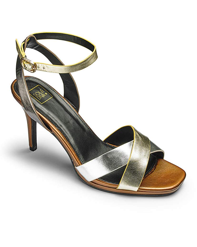 Simply Be Sole Diva Cross Strap Sandals EEE Fit