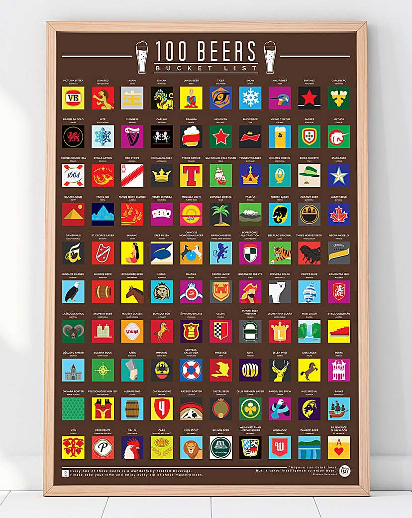 100 Beers Bucket List Poster