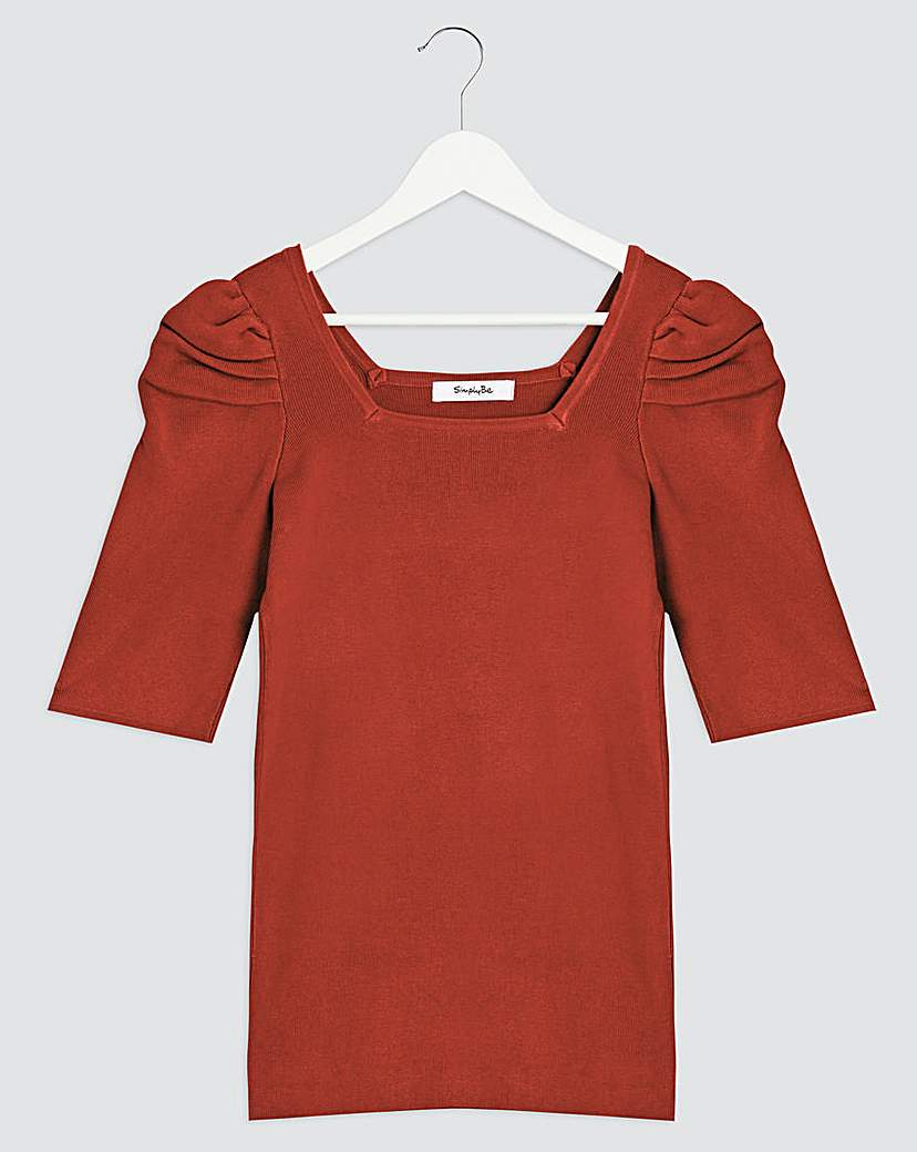 Simply Be Square Neck Puff Sleeve Jumper