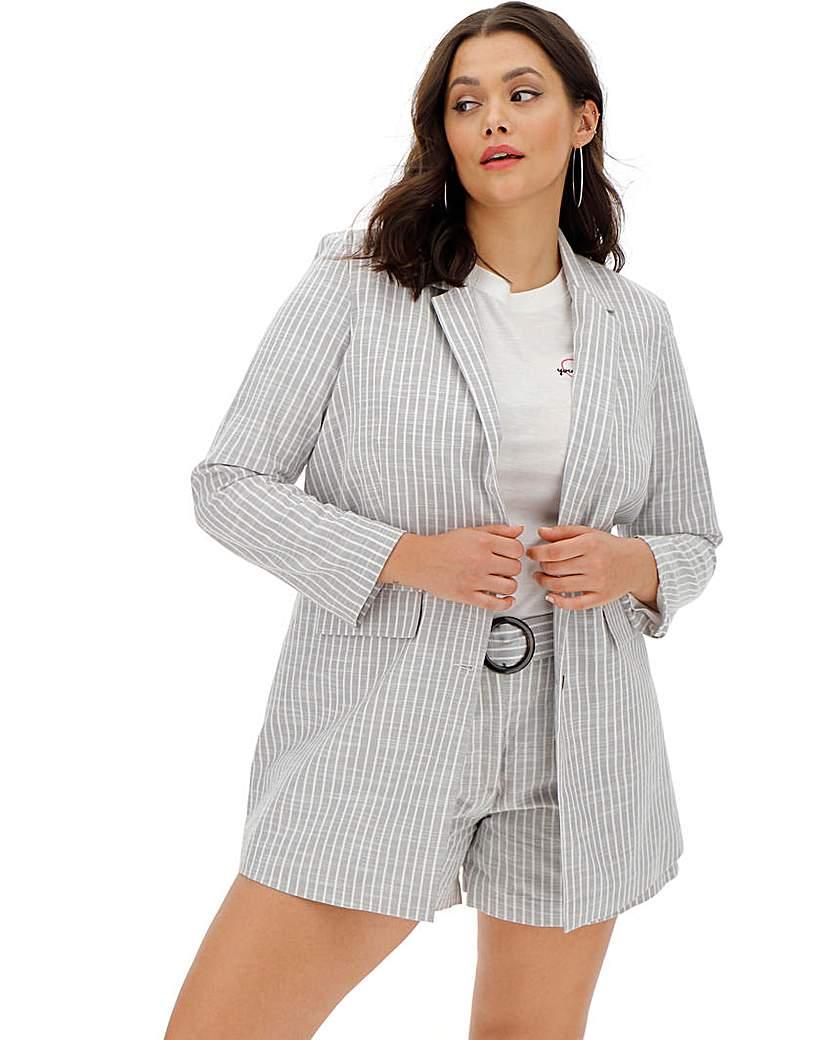 Simply Be Soft Grey Stripe Relaxed Blazer