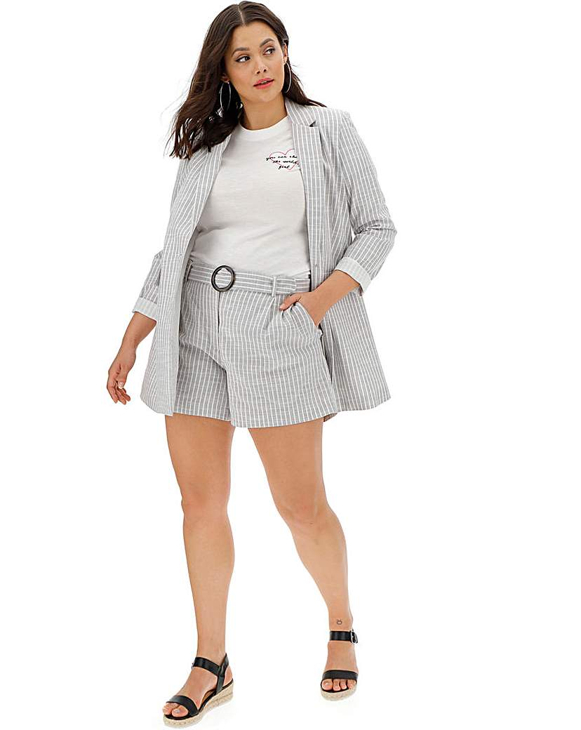 Simply Be Soft Grey Stripe Relaxed Shorts