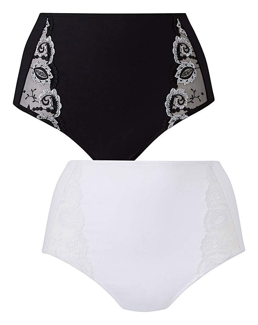 2 Pack Blk/Wht Joanna Embroidered Brief