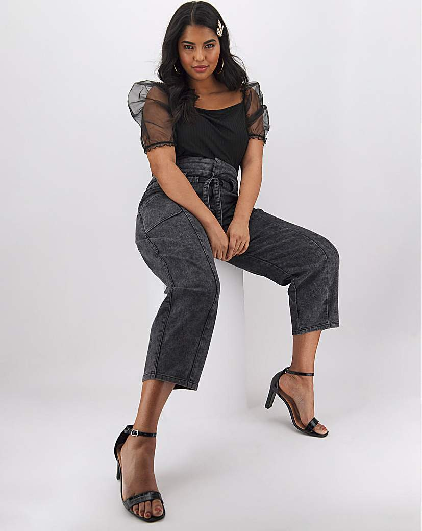 Simply Be Black Acid Wash Belted Tapered Jeans